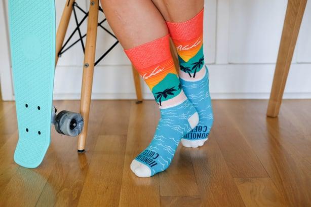 custom socks honolulu coffee beautiful design bright orange blue beach palm tree penny board